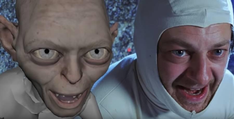 """Andy Serkis als Gollum (Ausschnitt You Tube  """"Creating Gollum"""")"""