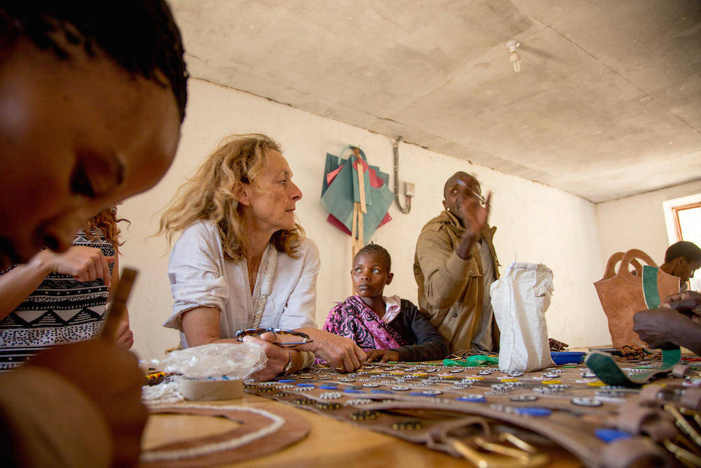 Discussing bag designs at the new leather workshop in Mkuru.
