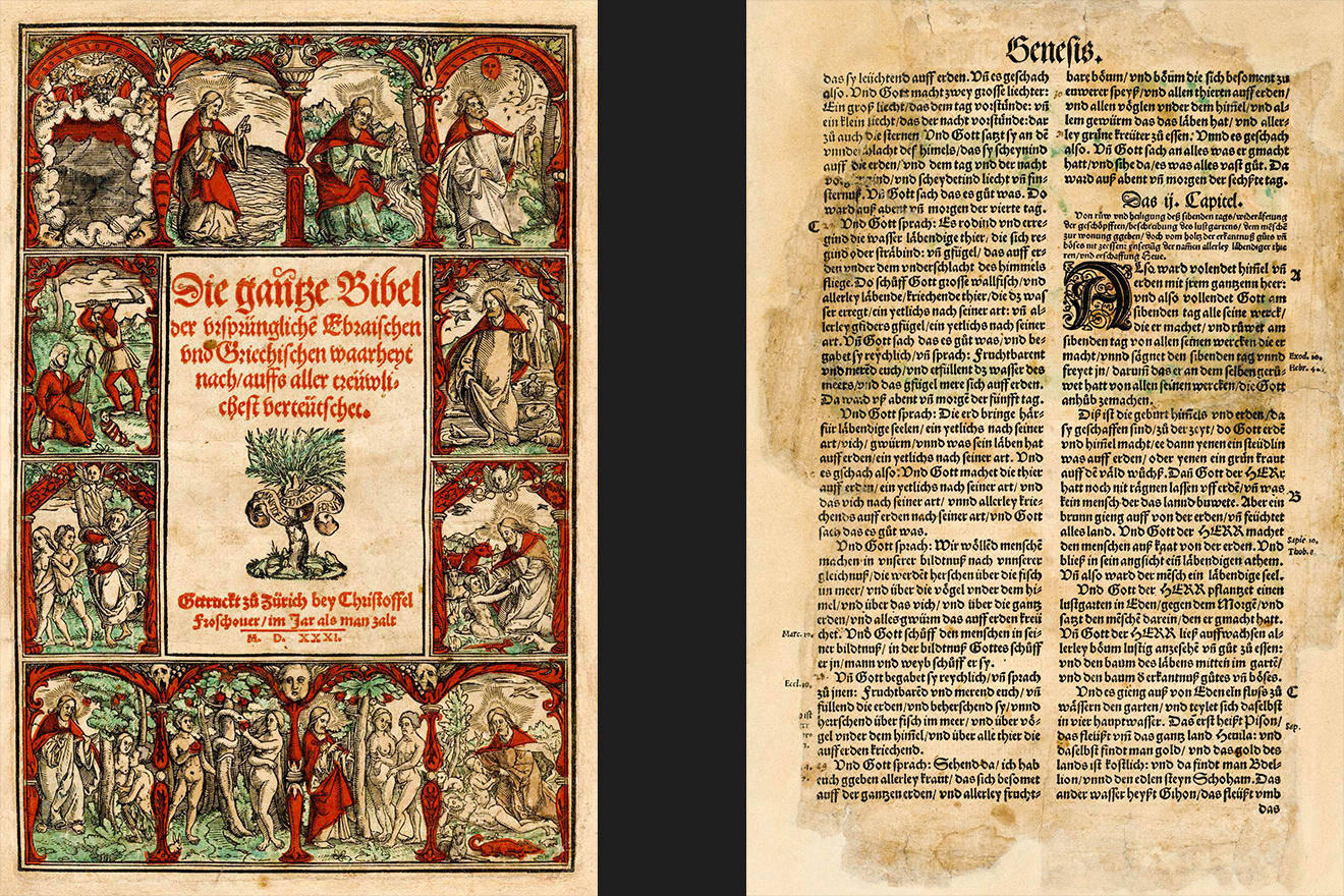 The story of Genesis in the first Bible that was translated and published in Zurich