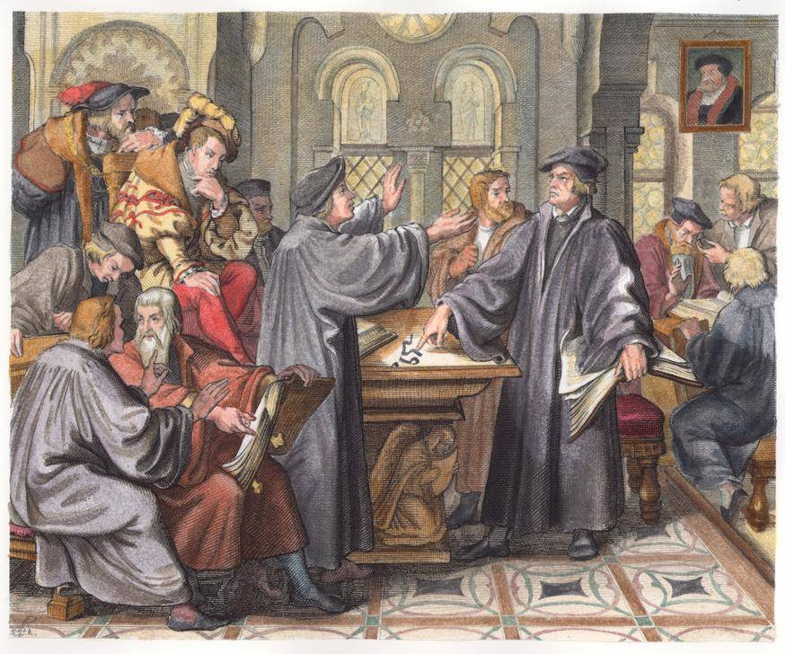 Luther and Zwingli disagreeing about the Eucharist, in a painting by German artist Gustav König from 1847 (akg-images)