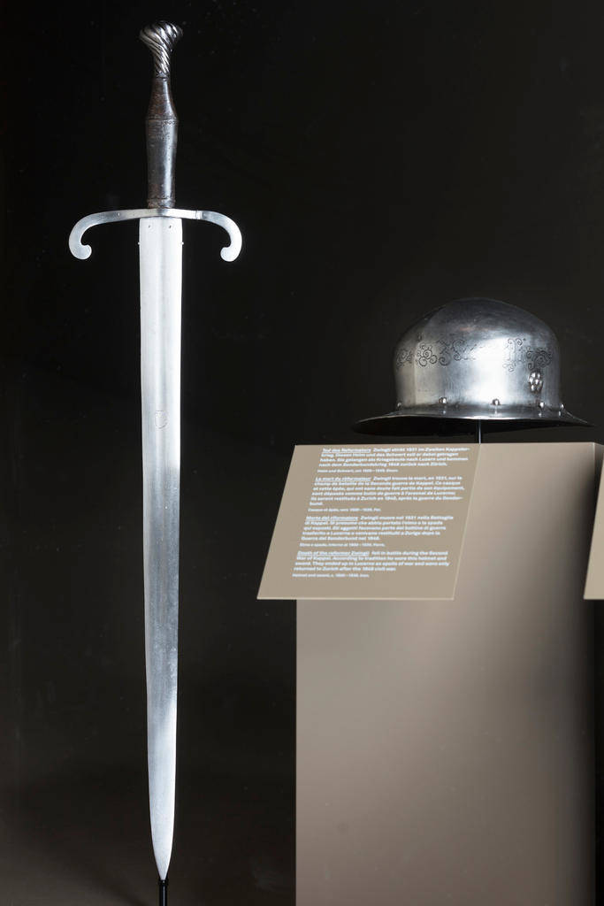 Zwingli is supposed to have worn this helmet and used this sword when he died in the second Kappel war on October 11, 1531