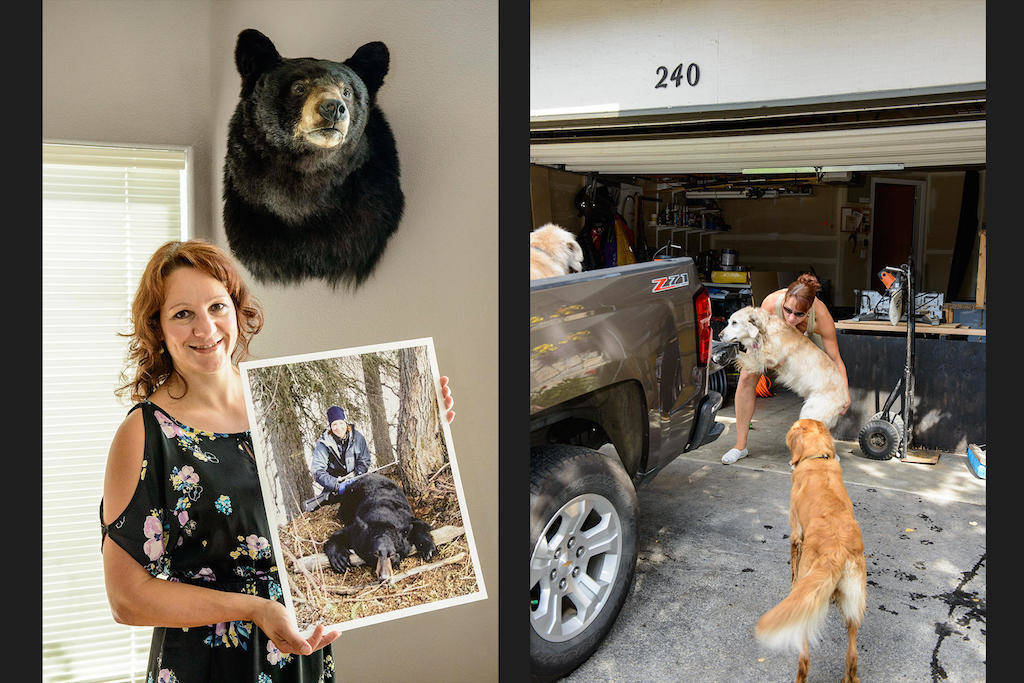 Eu matei esse urso há dez anos em Beluga. Os três cachorros são os meus melhores amigos.