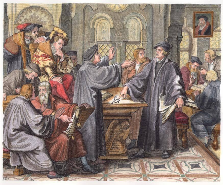 النزاع بين لوثر وزفينغلي حول مسألة الأسرار كما جسّده الرسام الألماني غوستاف كونيغ (1847). akg-images