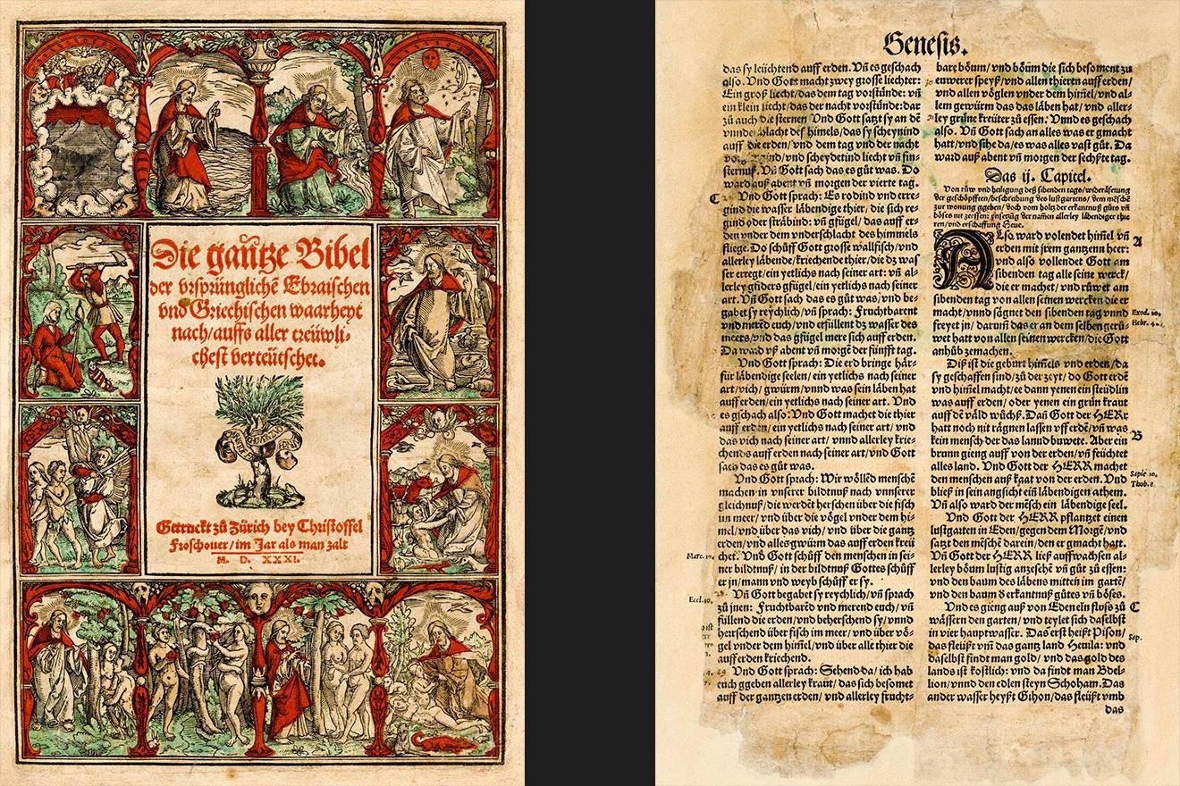 由苏黎世翻译印刷的首本圣经中的《创世记》。(zvg)