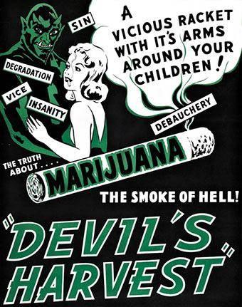 """الملصق الإشهاري لشريط """"حصاد الشيطان"""" (Devil's Harvest)، الذي أنتج عام 1942 في الولايات المتحدة ويُشيطن استهلاك القنب"""