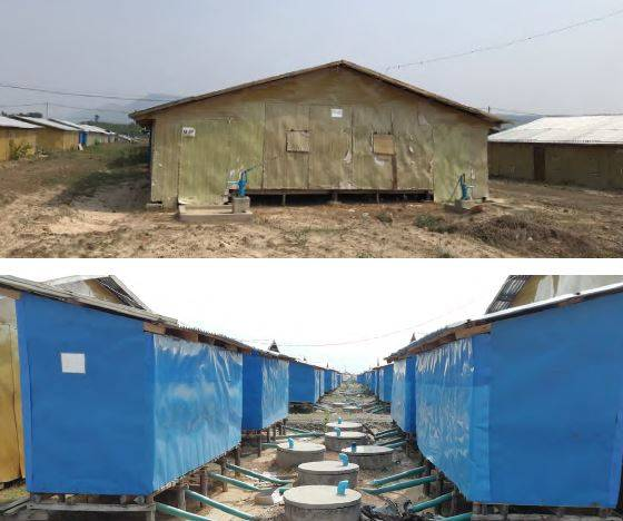"Housing (top) and communal toilets (bottom) at Hla Pho Khaung Transit Centre. Source: ASEAN-ERAT ""Preliminary Needs Assessment for Repatriation in Rakhine State, Myanmar"", 2019."