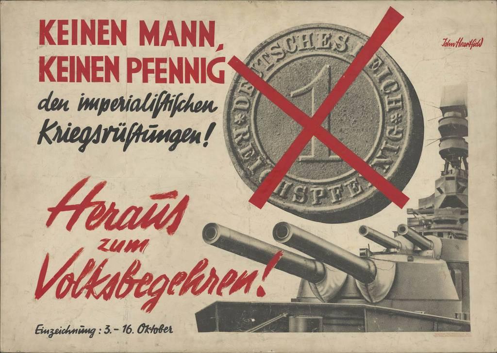 """""""Keinen Mann, keinen Pfennig den imperialistischen Kriegsrüstungen!"""", Entwurf für Plakat der KPD zum Volksbegehren im Oktober 1928 von John Heartfield"""