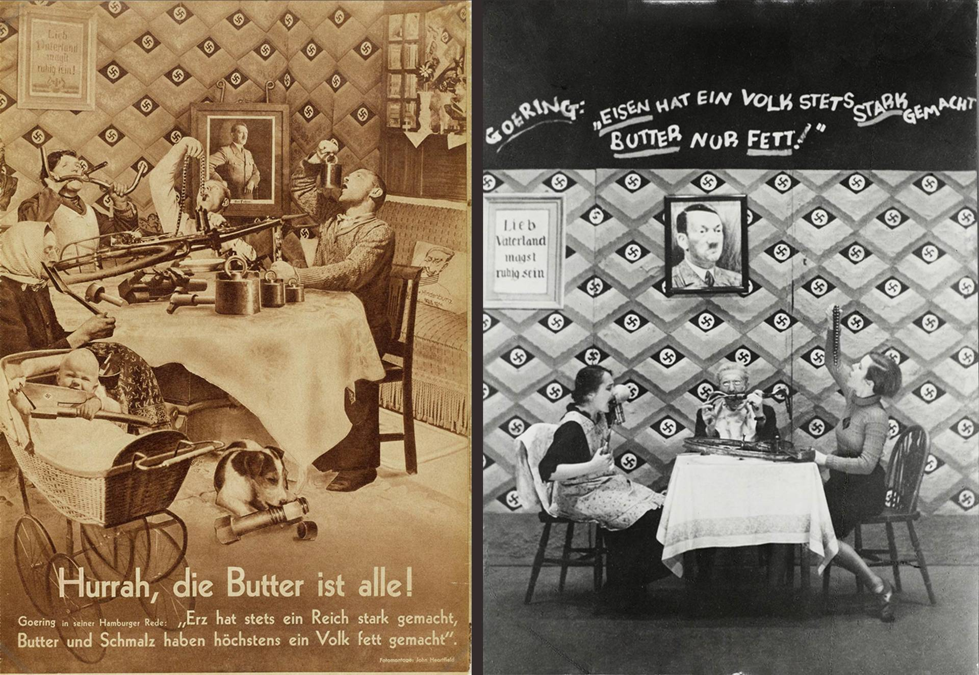 """Hurrah, die Butter ist alle!"", AIZ page, 1935 and stage photo from the cabaret of the Free German League of Culture in England, 1939"