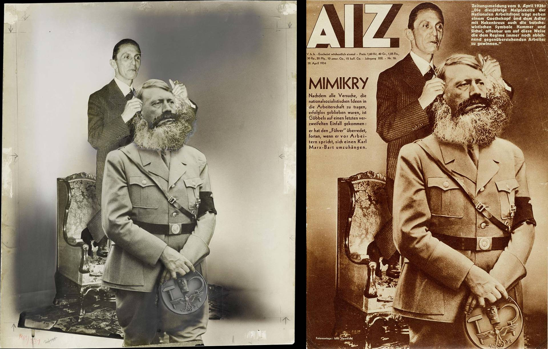 original photomontage and AIZ page, 19.4.1934