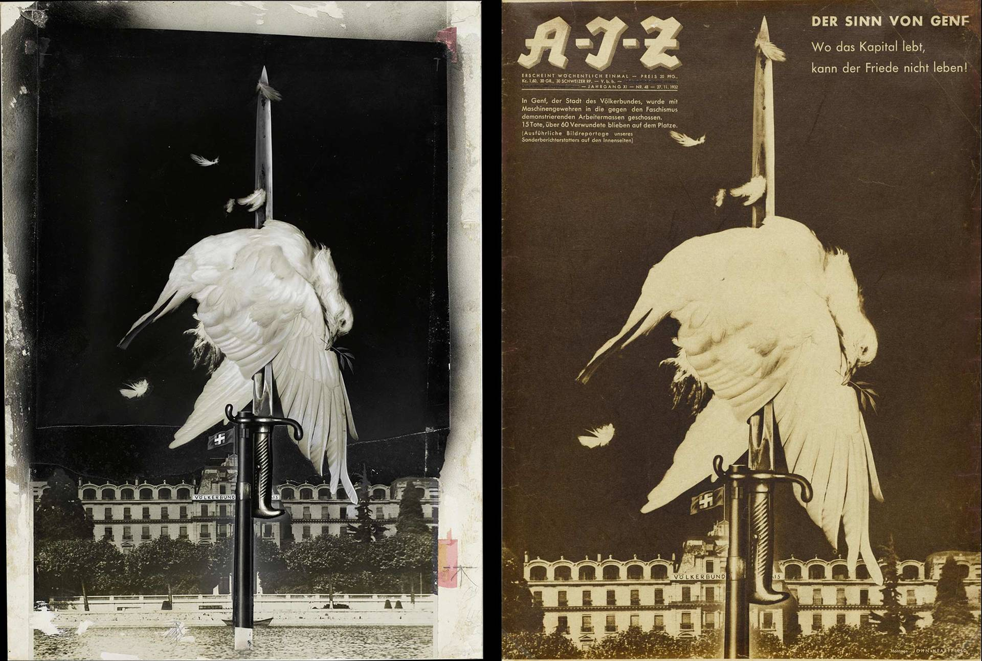 original photomontage and AIZ page, 27.11.1932