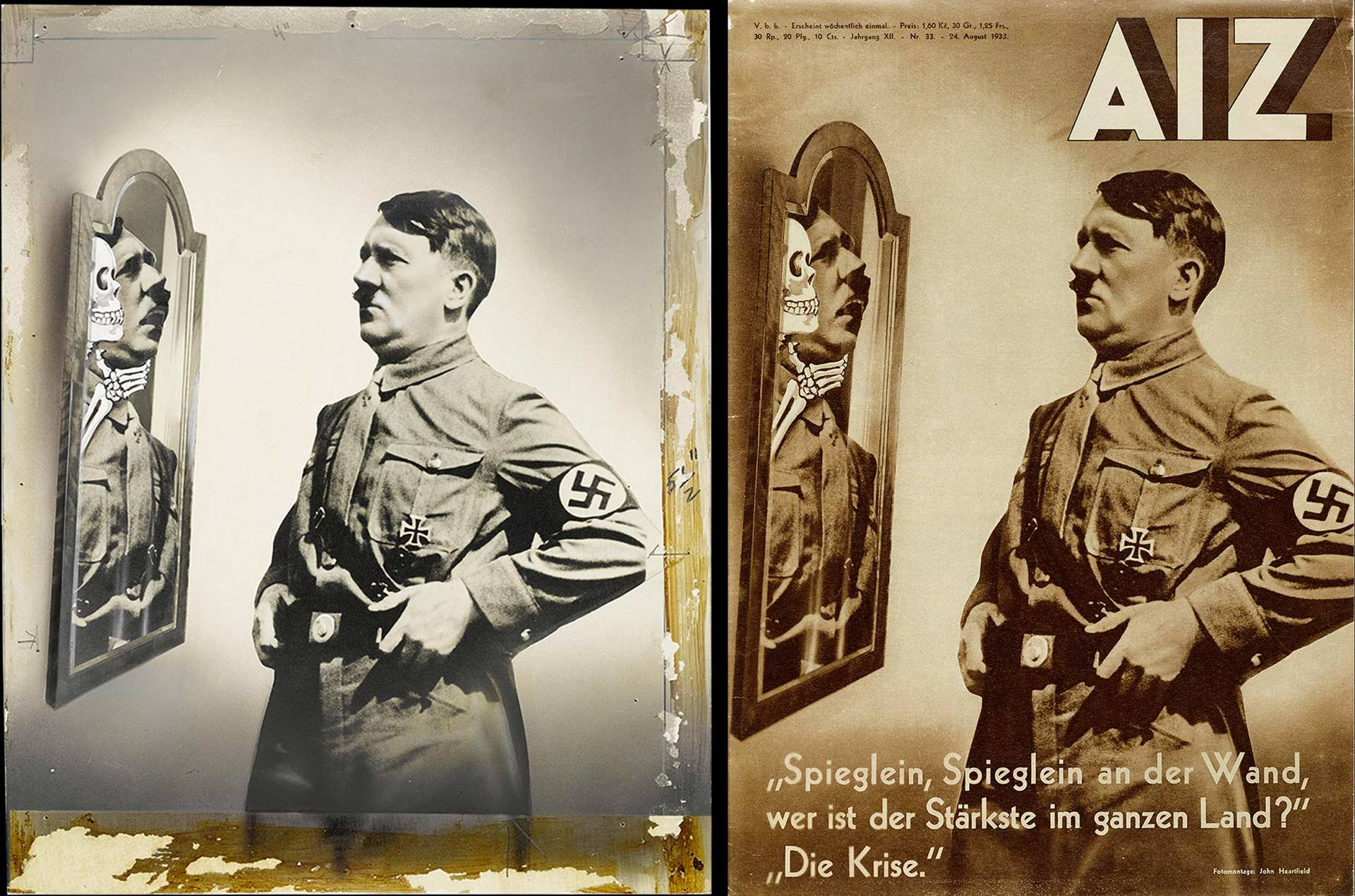 original photomontage and AIZ page, 24.8.1933