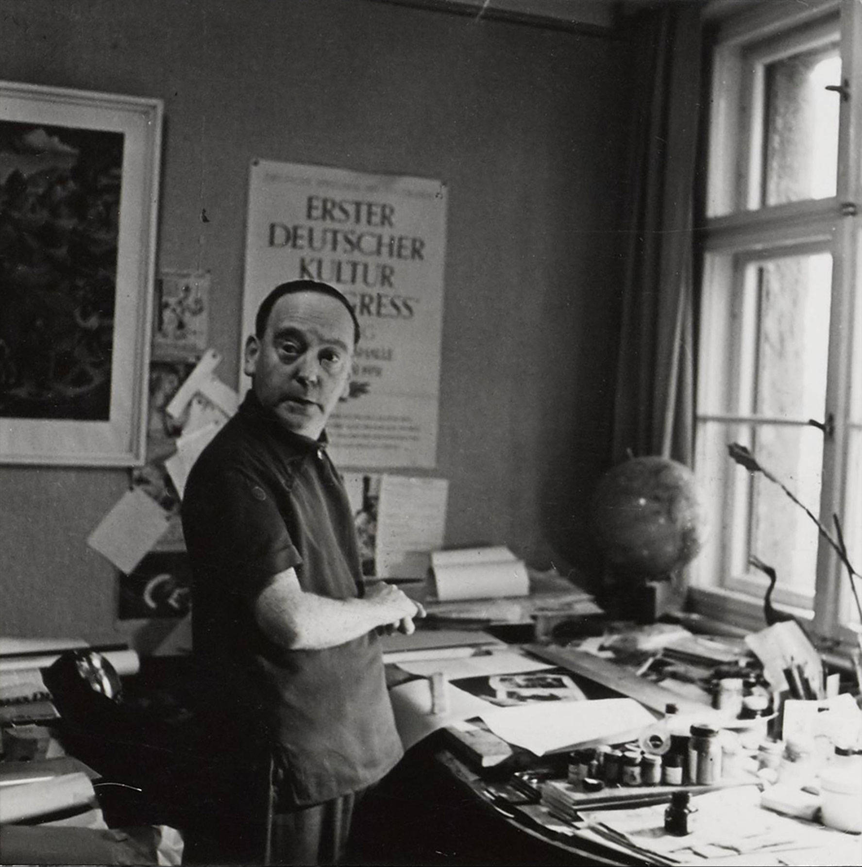 John Heartfield in his apartment at Friedrichstrasse, approx. 1958