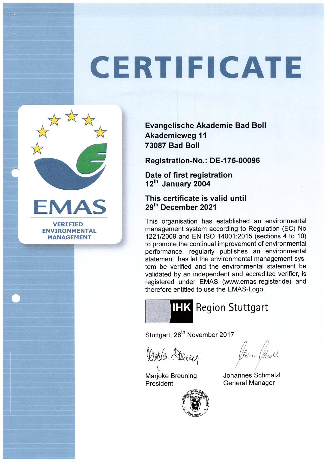 Das EMAS-Zertifikat bis 2021