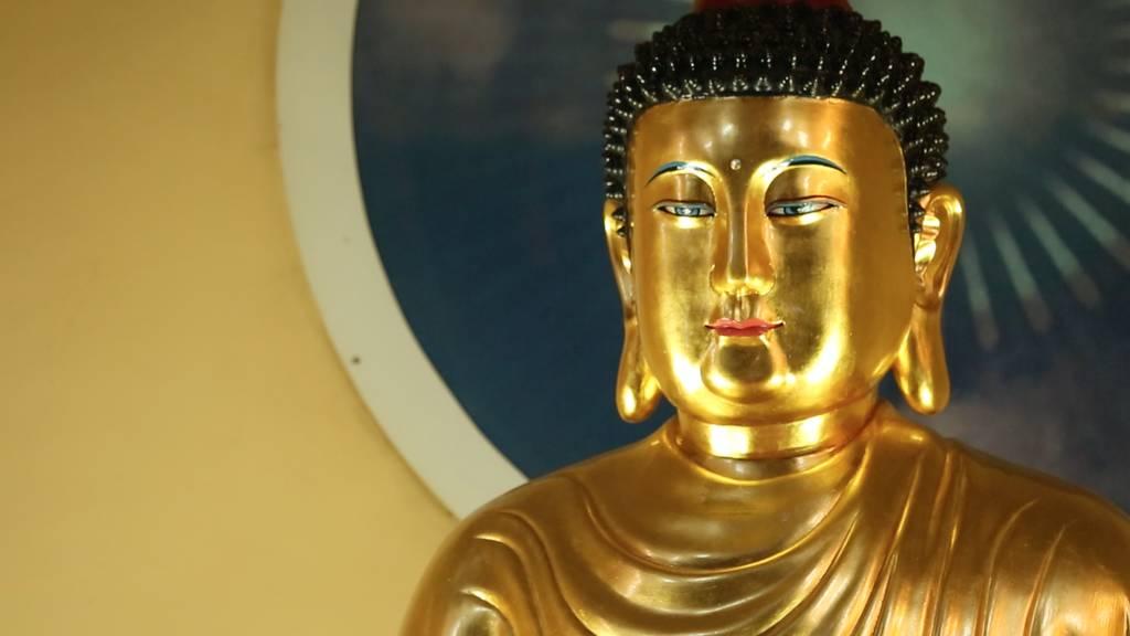"""Goldene Buddhastatue im """"Tempel der Erleuchtung"""""""