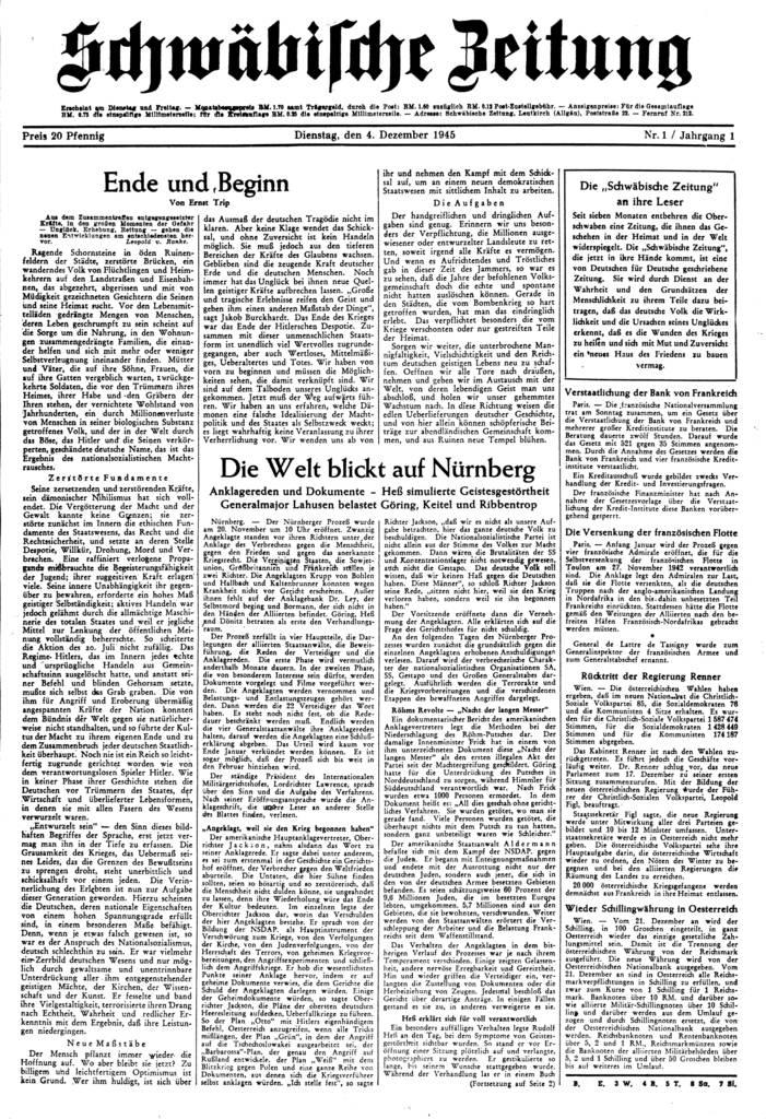 """4. Dezember 1945: Die Erstausgabe der """"Schwäbischen Zeitung"""" erscheint. (Foto: Archiv)"""