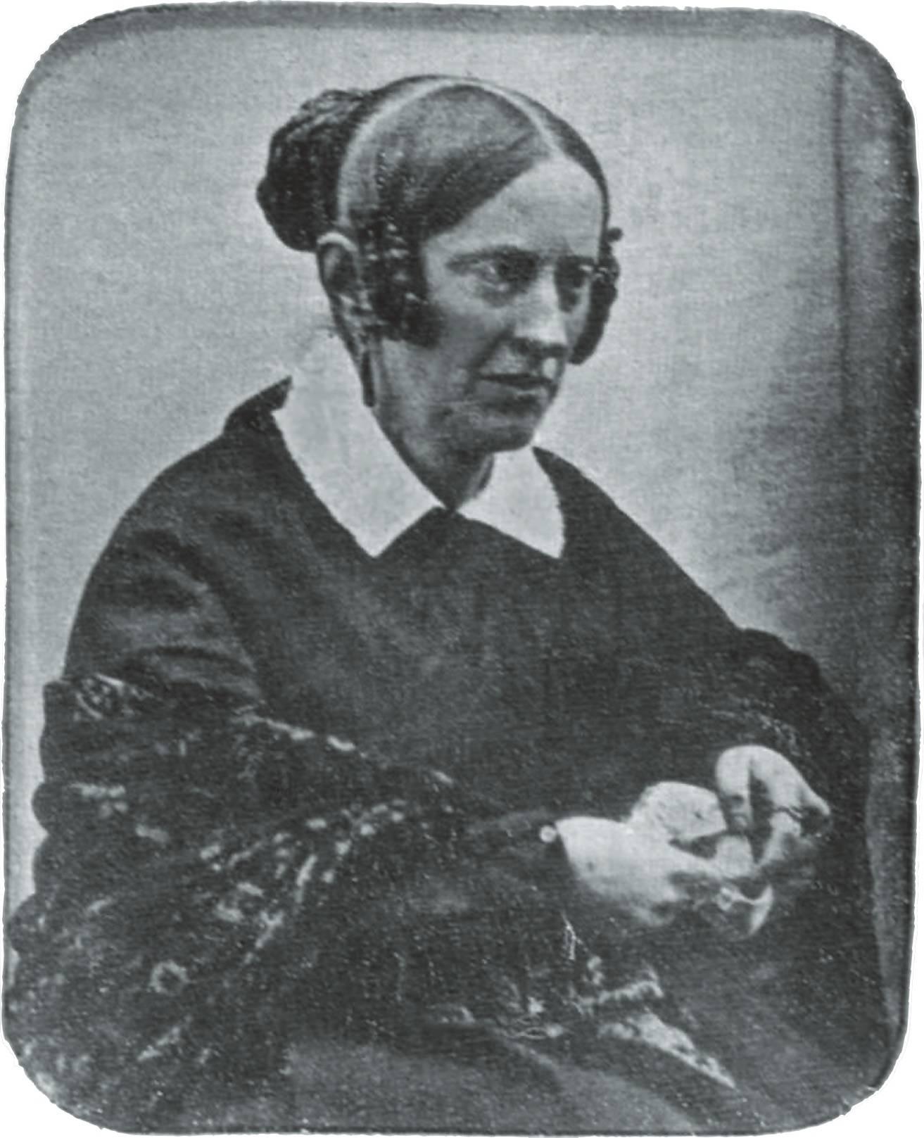 Annette von Droste-Hülshoff auf einer Daguerreotypie von Friedrich Hundt, 1845. Quelle: Wikimedia
