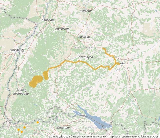 """Junge Luchse legen weite Strecken zurück - so wie """"Friedl"""" aus dem Elztal südlich der Ortenau, der bis vor die Tore Ulms lief. (Karte: FVA Freiburg)"""