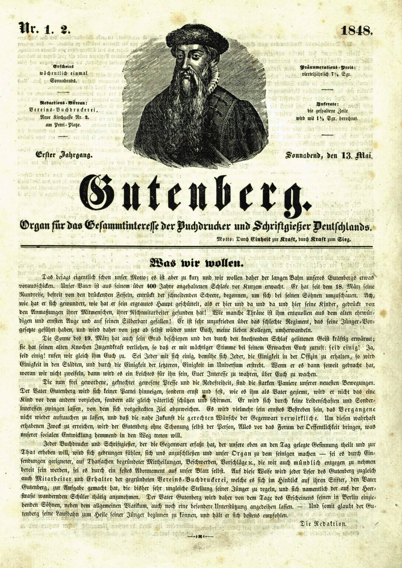 Titelseite der ersten Ausgabe des »Gutenberg« | Quelle: Bibliothek der Friedrich-Ebert-Stiftung