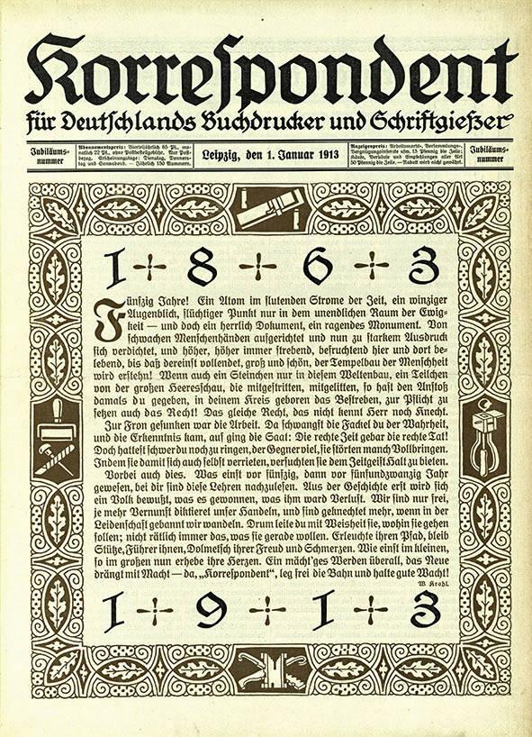 Korrespondent 1913 – Jubiläumsausgabe | Quelle:  Bibliothek der FES