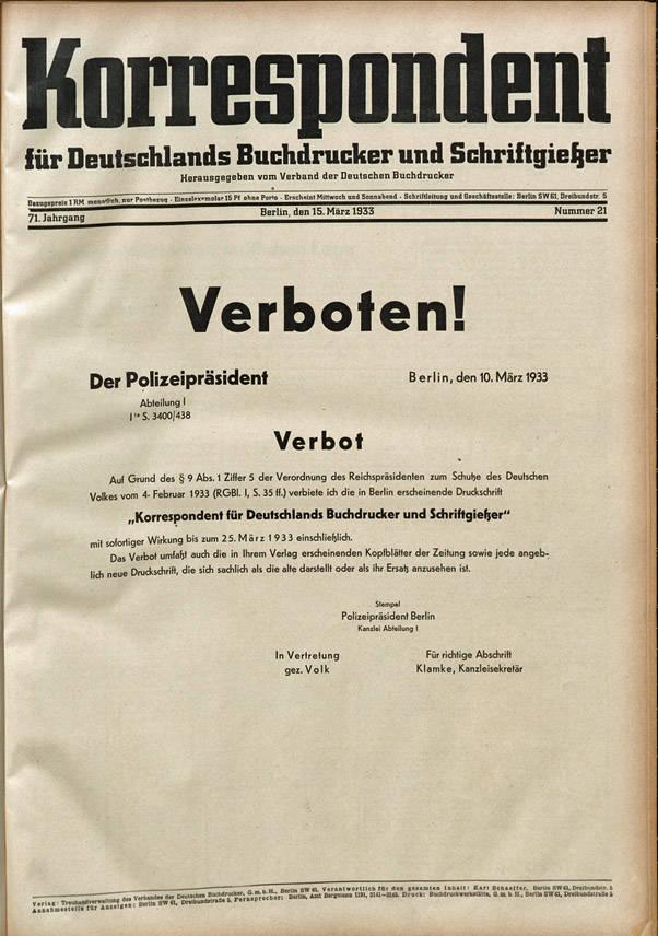 Korrespondent 1933 | Quelle: Bibliothek der FES