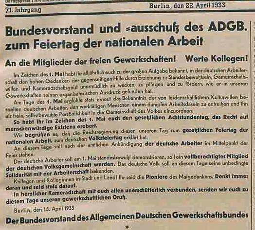 Anpassungskurs: Aufruf zur Teilnahme am nationalsozialistischen 1. Mai | aus: Korrespondent vom 22. April 1933; Quelle: Bibliothek der FES