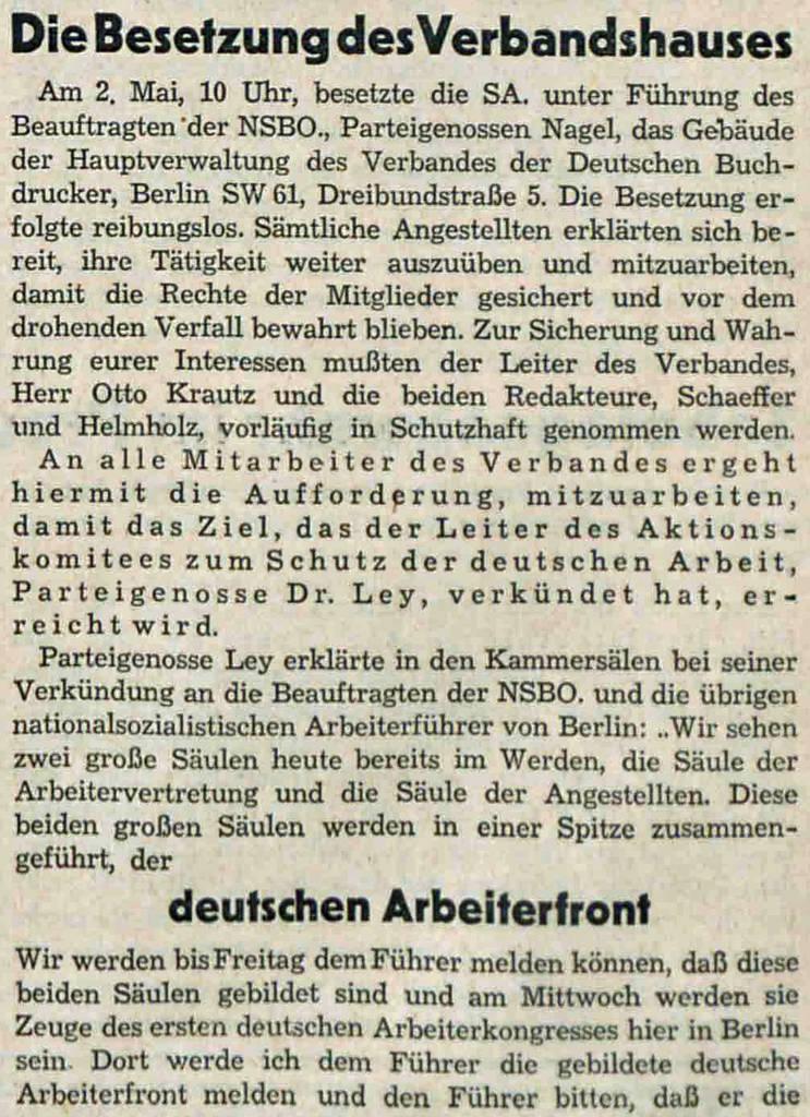 Zerschlagung | Bericht über die Besetzung des Buchdruckerhauses –Korrespondent vom 12. Mai 1933 (Quelle: Bibliothek der FES)