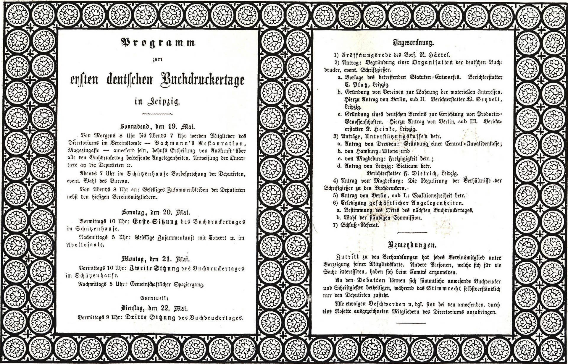 Programm zum ersten deutschen Buchdruckertag in Leipzig  | aus: Der Verband der Deutschen Buchdrucker 1866 – 1916, hrsg. Vom Vorstand des Verbandes der Deutschen Buchdrucker, Erster Band, Berlin 1916, S. 296f, ver.di-Archiv
