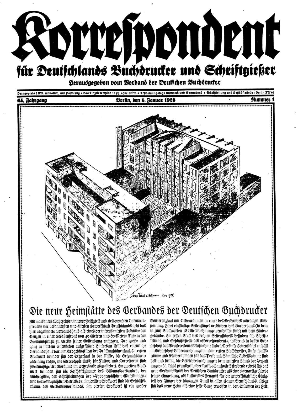 Titelseite vom Korrespondent vom 6. Januar 1926 zum neuen Buchdruckerhaus in Berlin