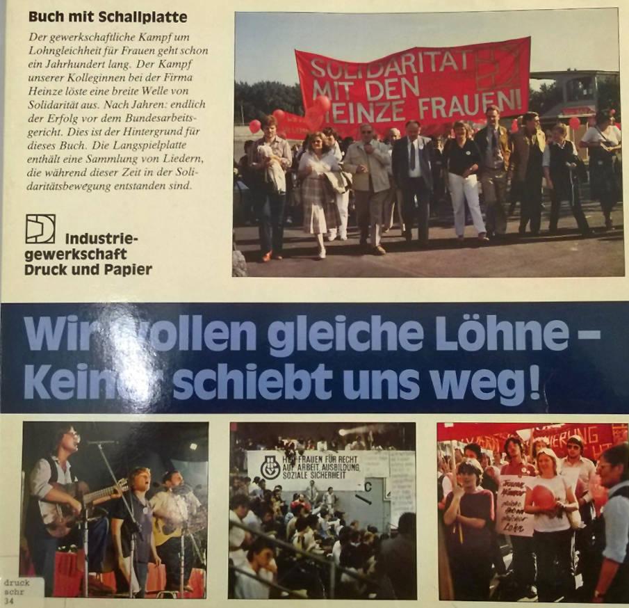 Schallplatte und Buch: Wir wollen gleiche Löhne – Keiner schiebt uns weg! Herausgegeben von der IG Druck und Papier | ver.di-Archiv