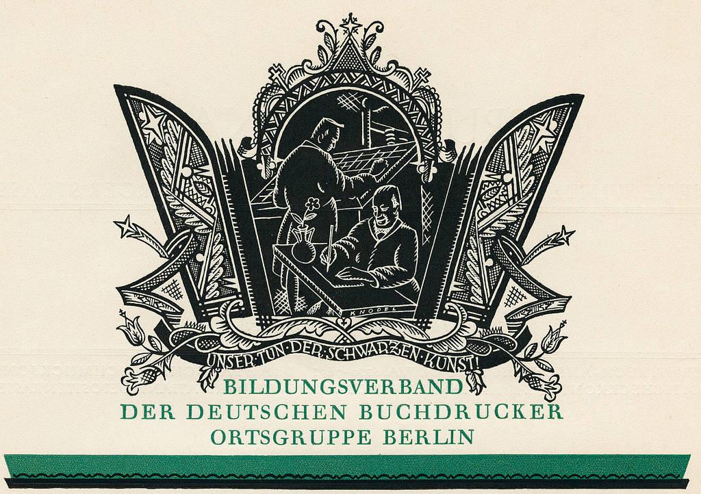 Vignette der Ortsgruppe Berlin des Bildungsverbandes der Deutschen Buchdrucker auf Anerkennungsschreiben für Preisträger in Wettbewerben, 1925 | Quelle: Bibliothek Karl-Richter-Verein