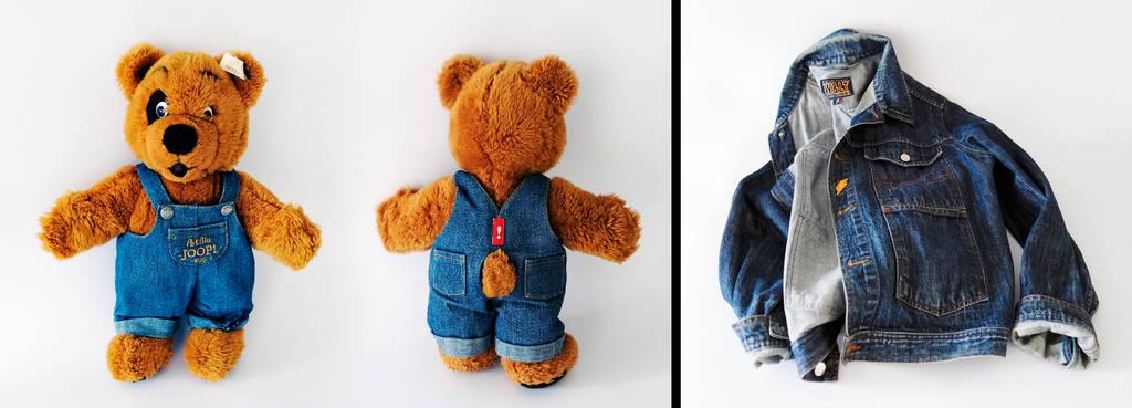 """In manchen (Hohenloher) Haushalten finden sich noch heute Überbleibsel der Firmengeschichte - wie der Teddy """"Pet Blu"""" oder wie W & LT-Jeansjacke. Fotos: Mugler"""