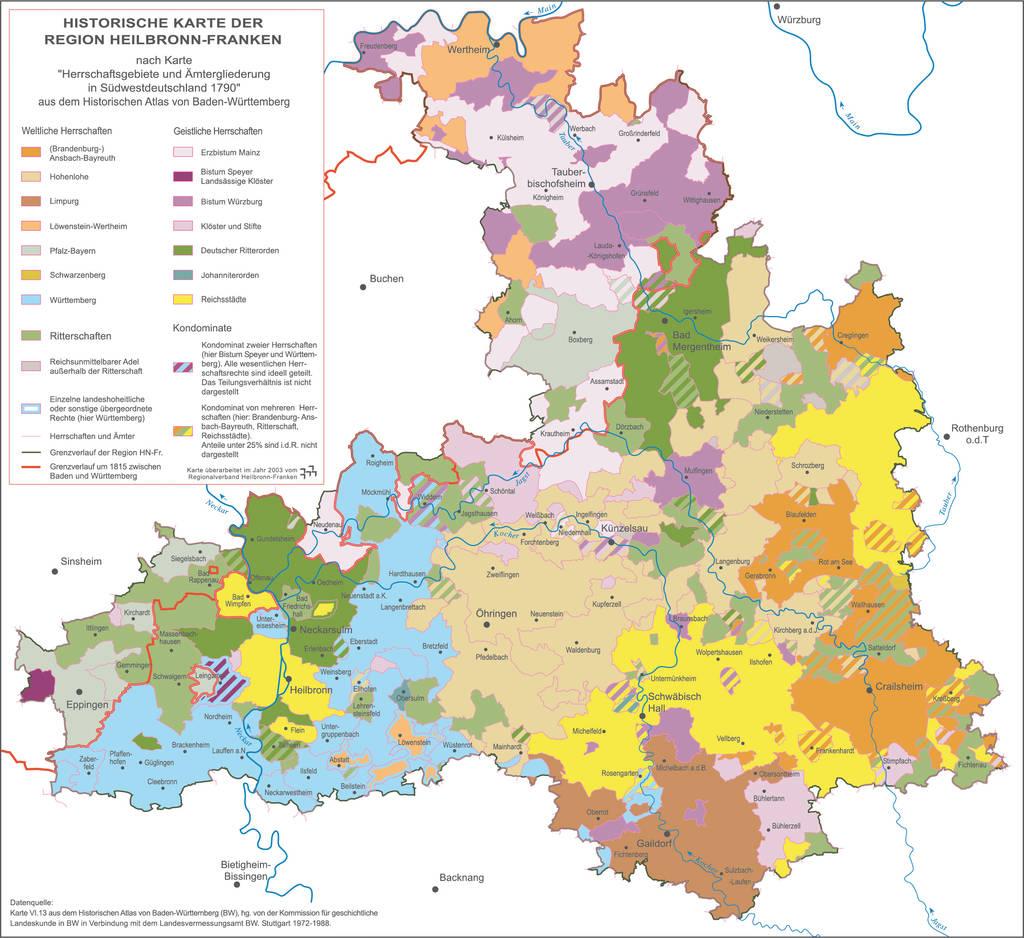 Aus dem Flickenteppich von einst, der hier die Herrschaftsverhältnisse um 1790 darstellt, ist die heutige Region Heilbronn-Franken entstanden. Quelle: Karte VI.13 aus dem historischen Atlas von Baden-Württemberg, hg. von der geschichtlichen Kommission für Landeskunde in BW in Verbindung mit dem Landesvermessungsamt BW. Stuttgart 1972-1988