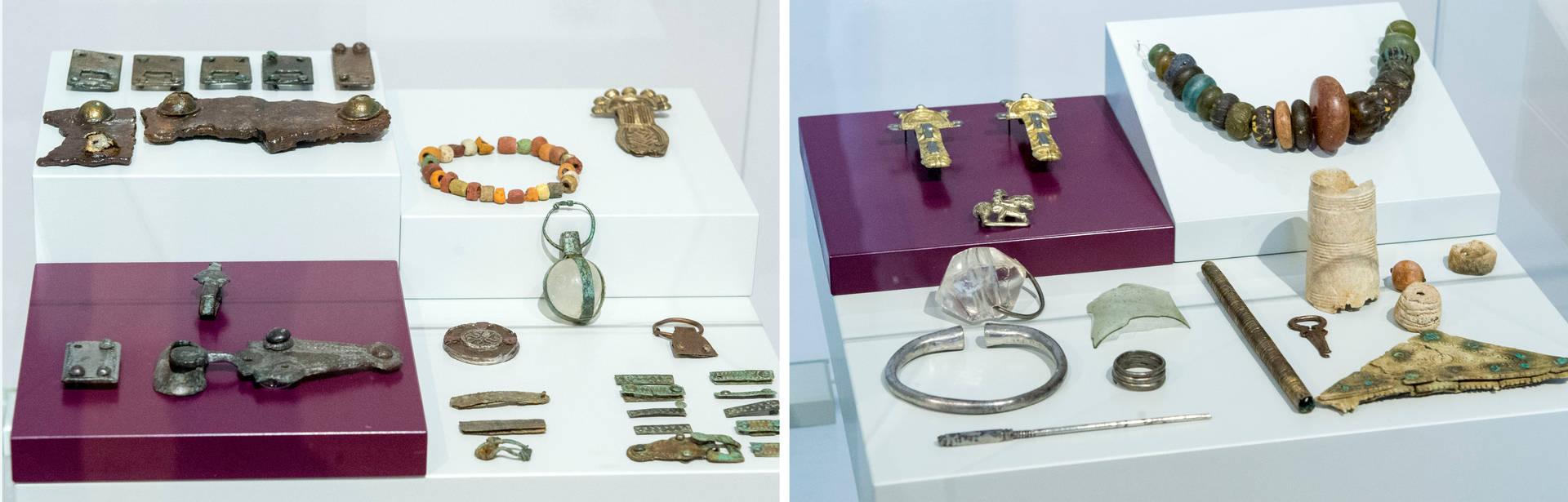 Fränkische (links) und alamannische Grabbeigaben, die an (verschiedenen) Fundorten in Böckingen ausgegraben wurden. Fotos: Mario Berger