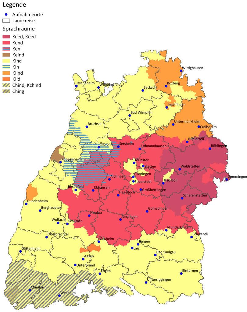 """Eine Sprachkarte am Beispiel des Wortes """"Kind"""". Die im Schwäbischen verbreitete Aussprache """"Kend"""" reicht nicht bis nach Heilbronn. Quelle: Ludwig-Uhland-Institut der Universität Tübingen"""