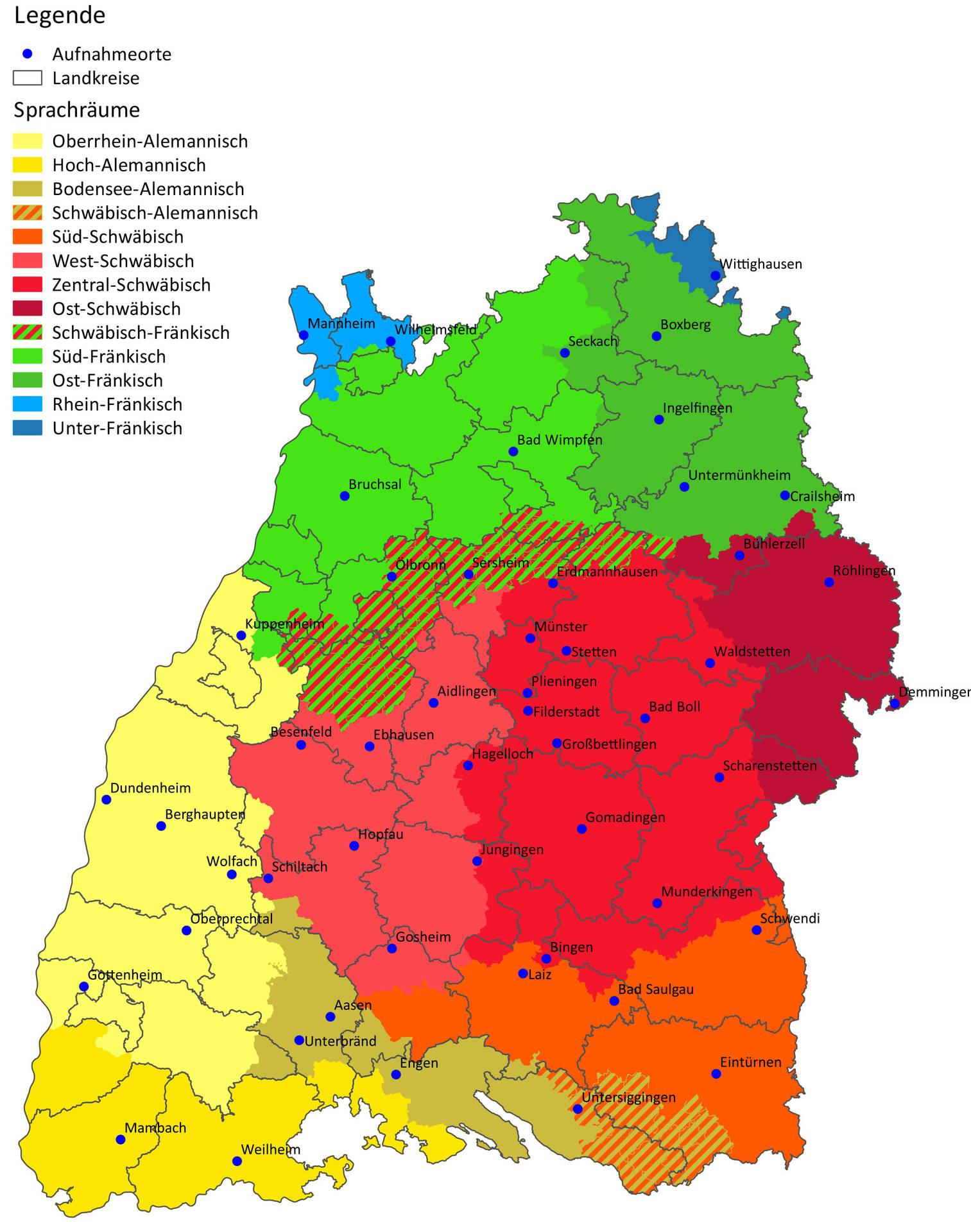 Die Karte zeigt die Verteilung der Dialekte in Baden-Württemberg. Schwäbische Dialekte in rot, die Hohenloher Mundart in dunklerem und der südfränkische Dialekt in hellerem Grün. Südlich von Heilbronn beginnt der schwäbisch-fränkische Übergangsbereich. Quelle: Ludwig-Uhland-Institut der Universität Tübingen