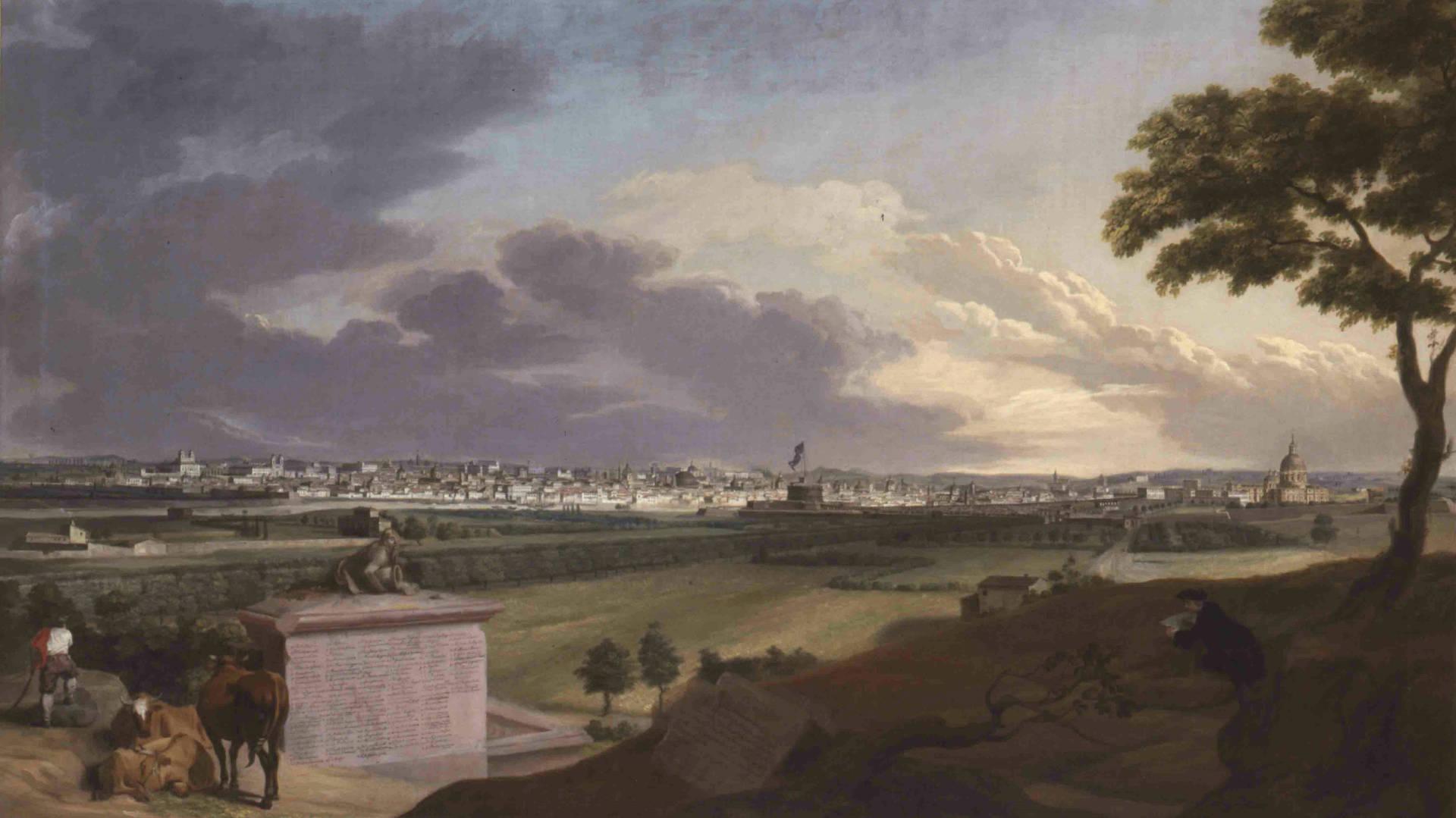 Jacob Wilhelm Mechau: Romansicht, vom Monte Mario aus gesehen, Öl auf Leinwand, um 1790.