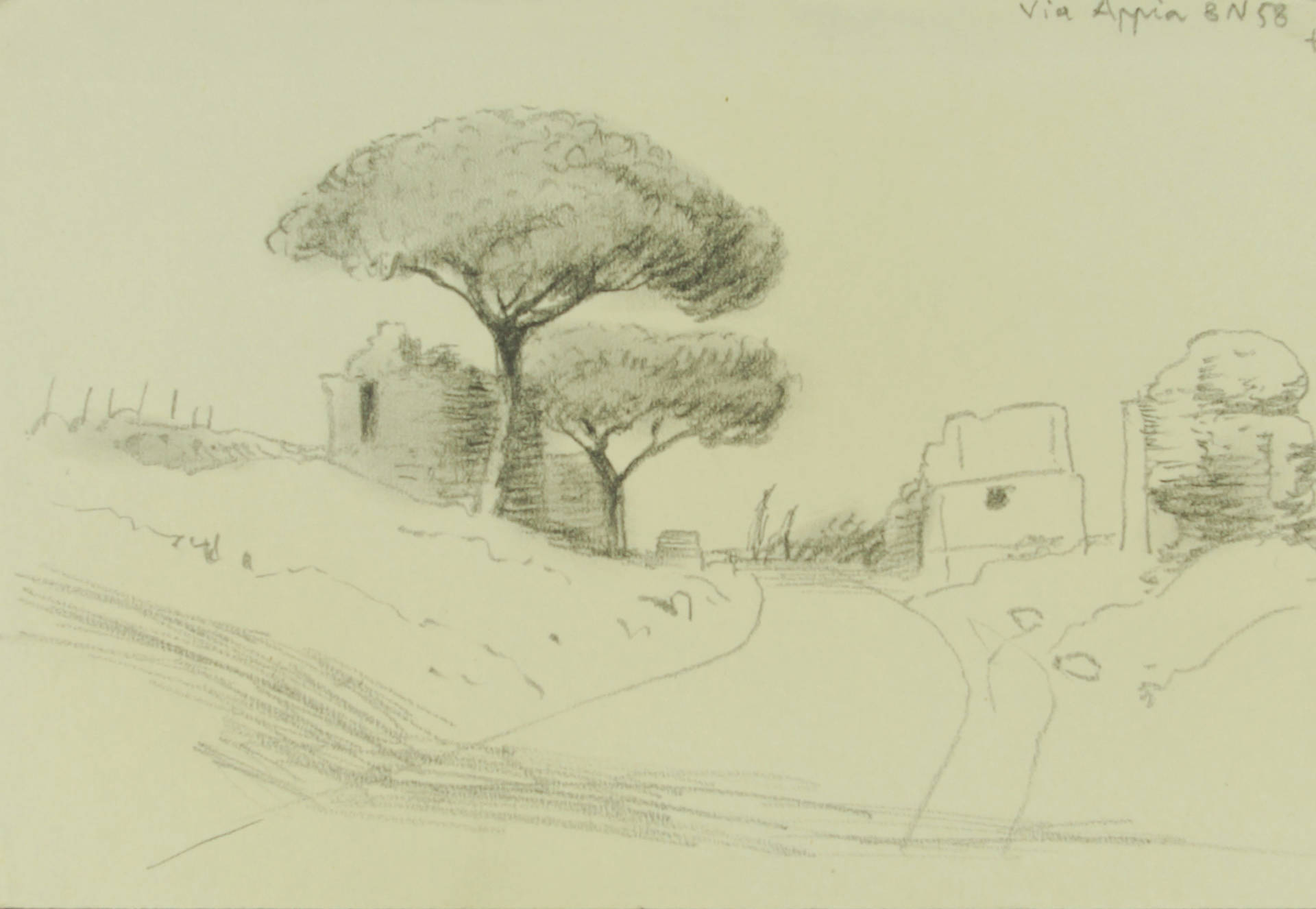 Gerhard Marcks, Via Appia, 1958, Bleistift, 130 x 192 mm