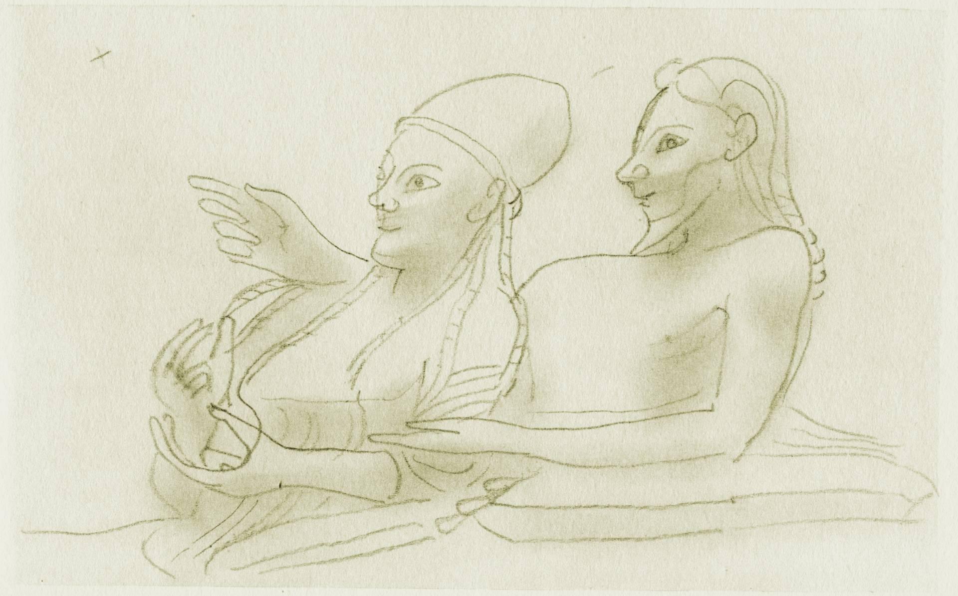 Gerhard Marcks, Sarkophag der Eheleute, 1958, Bleistift, 130 x 180 mm