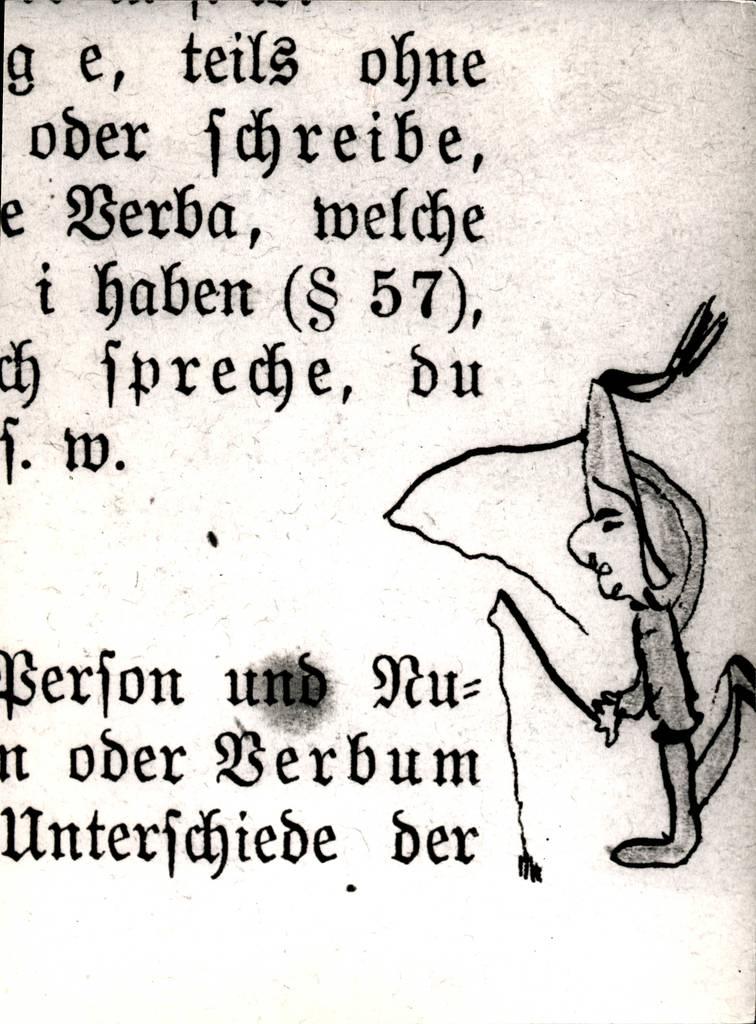 """Der »verkommene Gymnasiast« Karikatur von Thomas Mann in """"Wilmanns Deutscher Schulgrammatik"""". Quelle: Buddenbrookhaus/ Heinrich-und-Thomas-Mann-Zentrum © Fotoarchiv der Hansestadt Lübeck"""