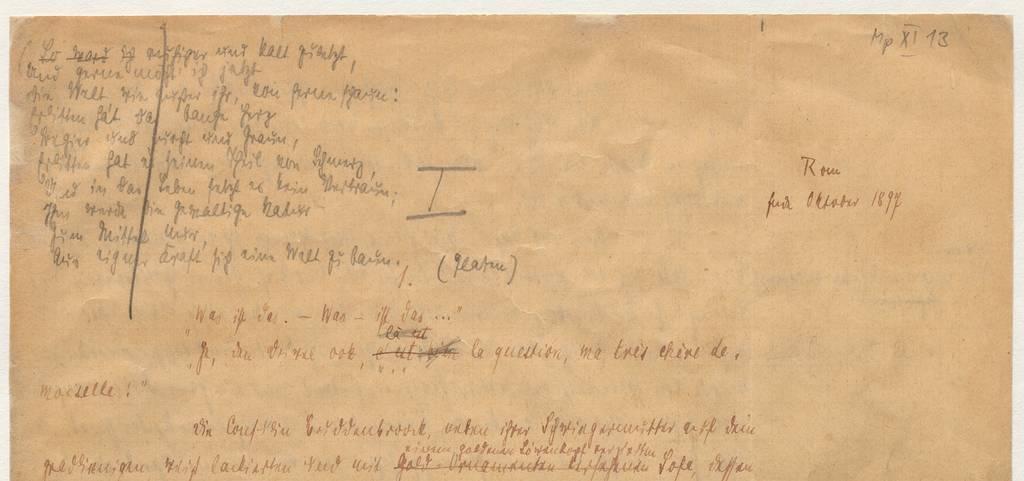 """Erste Seite des Manuskripts von Buddenbrooks, datiert: """"Rom, Ende Oktober 1897"""" Quelle: ETH-Bibliothek Zürich, Thomas-Mann-Archiv   © Alle Rechte vorbehalten S. Fischer Verlag GmbH, Frankfurt am Main"""
