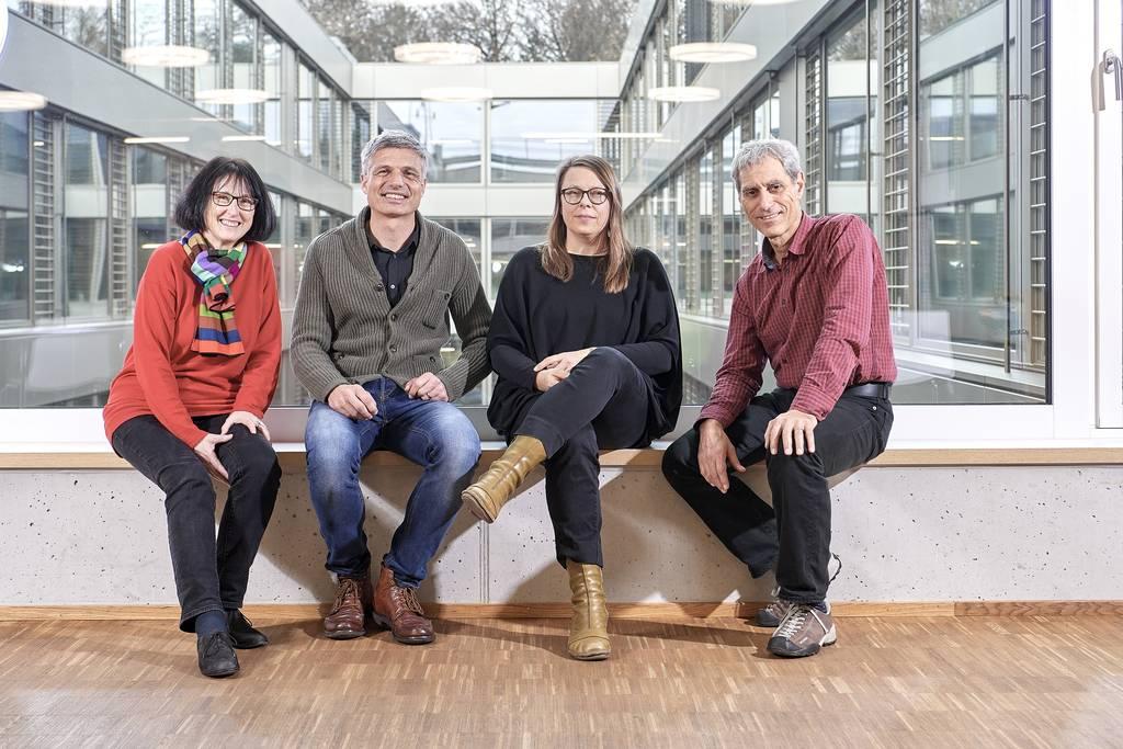 Elisabeth Eichelberger, Matthias Probst, Verena Huber Nievergelt und Marco Adamina (v.l.n.r.) leiten Forschungsprojekte zum kompetenzorientierten Fachunterricht.