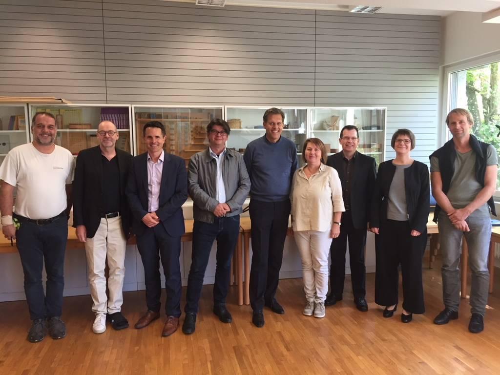 Mitglieder der Schulleitung der PHBern an der PH Vorarlberg mit Vertreterinnen und Vertretern der Hochschule.