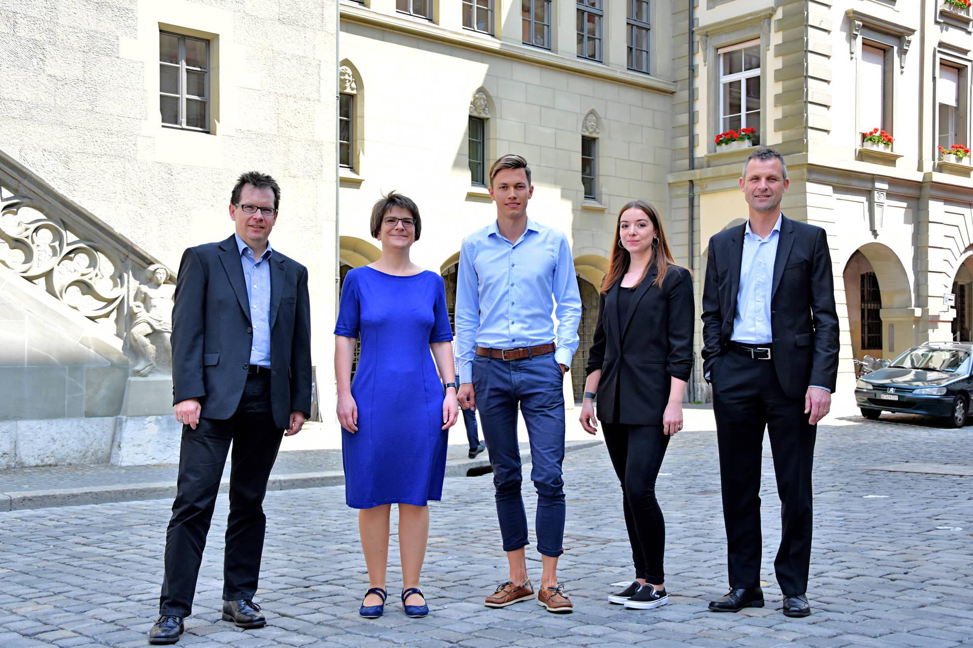 Die Vertreterinnen und Vertreter der PHBern (v.l.n.r.): Martin Schäfer, Andrea Schweizer, die Studierenden Dominik Amstutz und Kim Niederer sowie Daniel Steiner.