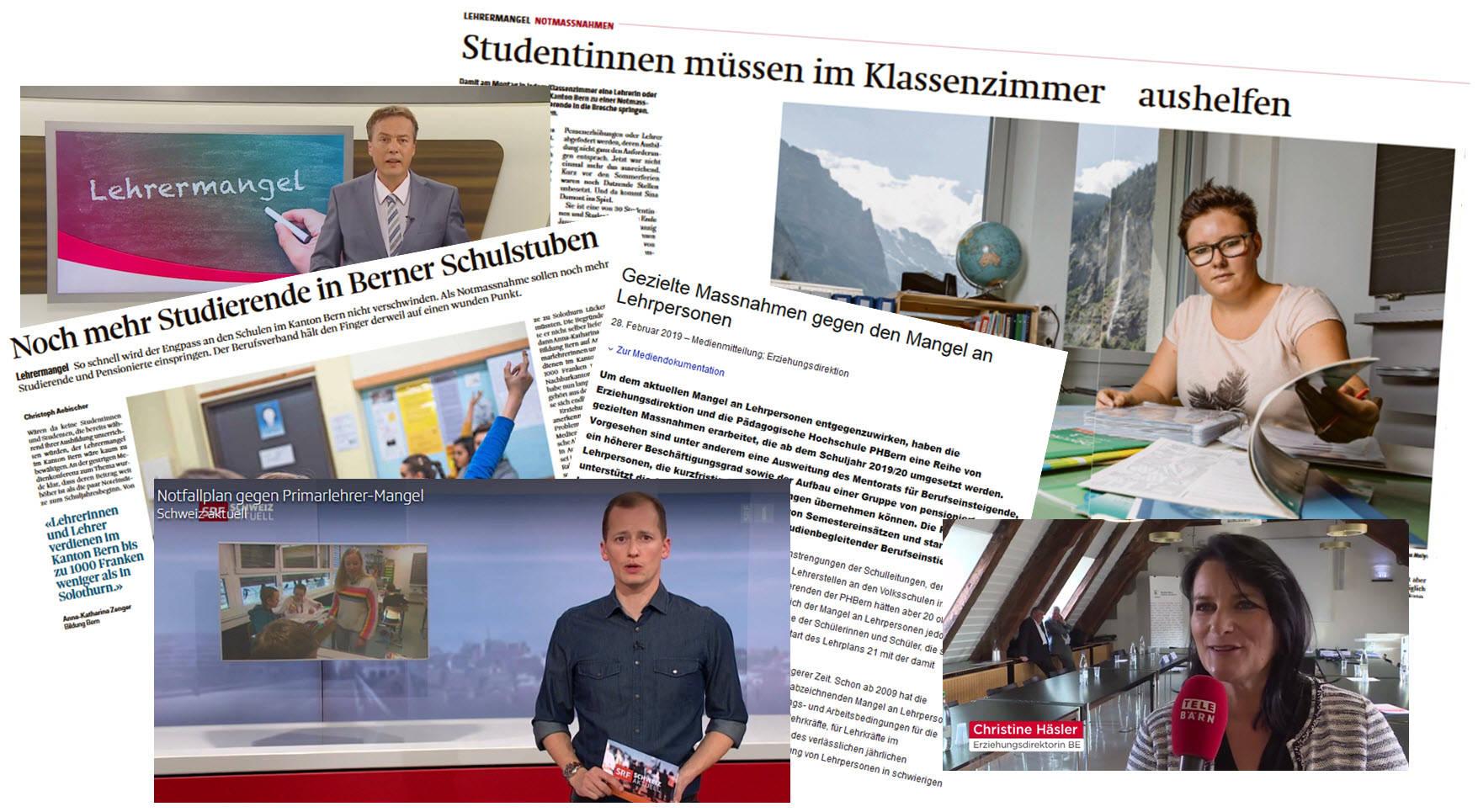 Die Medienberichterstattung 2018 am Beispiel von «Berner Zeitung», «Bund», «Telebärn», «SRF» und anderen Medien. Alle Berichte mit PHBern-Beteiligung gibt es unter: www.phbern.ch/medien