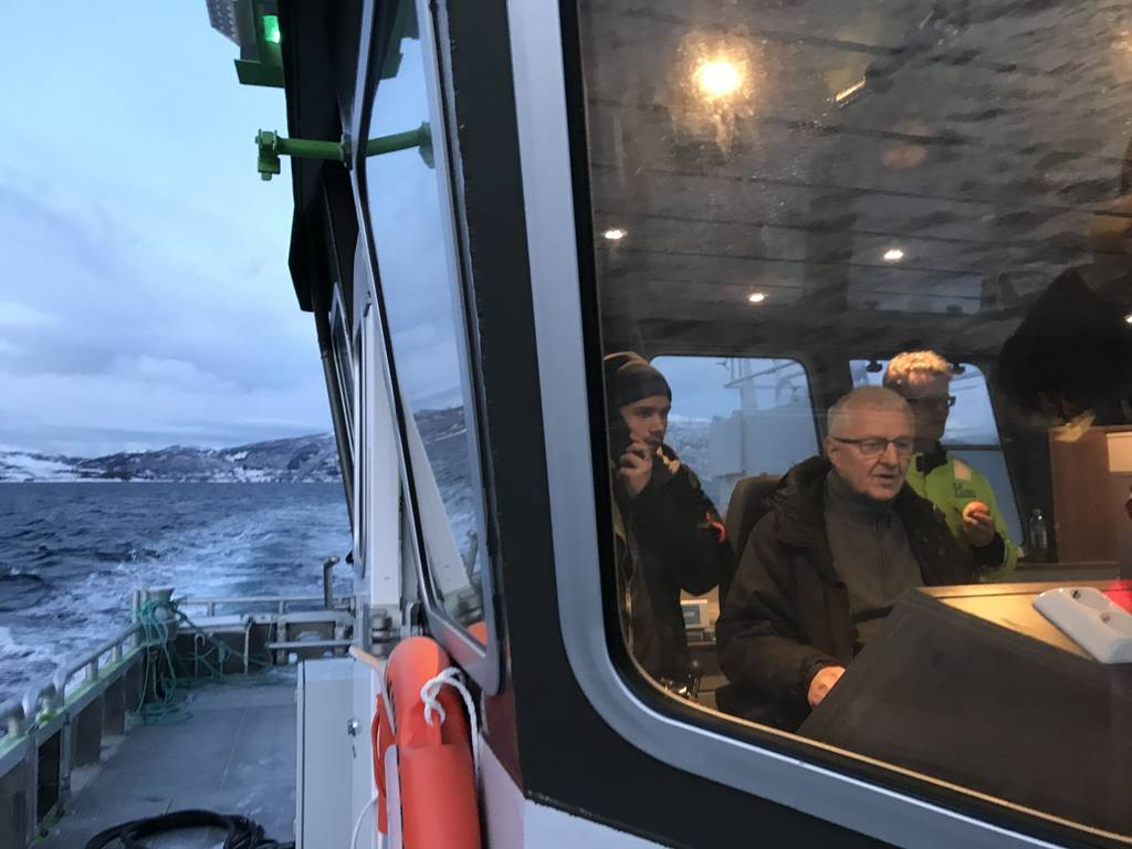 """Arnold Hansen, inventor of Grovfjord Mekaniske Verksted's first electric workboat, took the role of skipper during one of the first sea-trials in late 2017. """"Sailing silently in a boat this size is pure magic,"""" he says."""