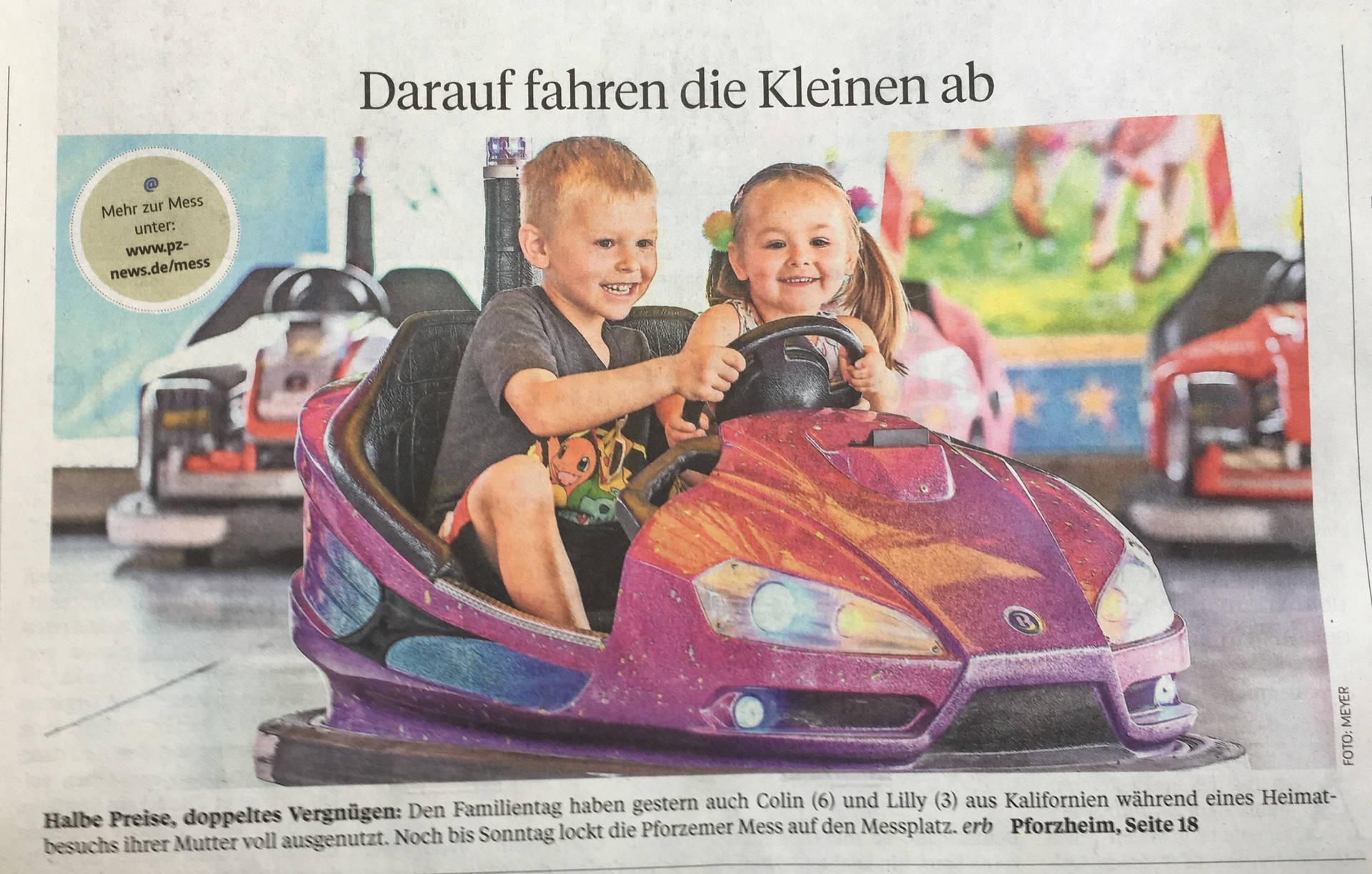 """Die Kinder von PZ-Leserin Julia Pauels landeten 2018 auf der Titelseite der """"Pforzheimer Zeitung""""."""