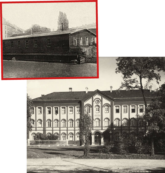 Eine zugige Baracke  in München-Giesing ist der erste Wirkungsort der Salesianer Don  Boscos in München. Unten: Die Fassade des Salesianums an der Auerfeldstraße um 1925.