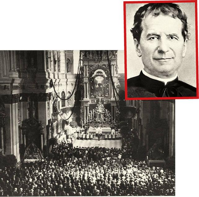 Priester, Erzieher  und Ordensgründer:  der hl. Johannes Bosco (1815 – 1888). Mehr als 7.000 Menschen  kommen zum Festgottesdienst anlässlich seiner Heiligsprechung  in St. Michael.