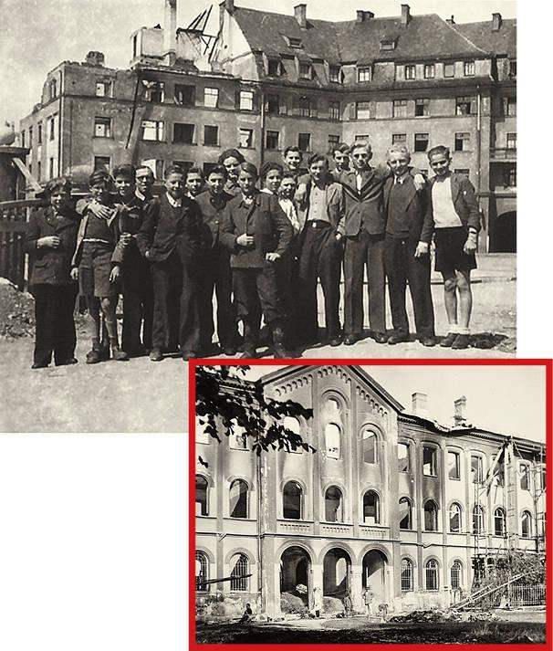 Nach den Luftangriffen müssen viele Gebäude des Salesianums abgerissen werden. Unten: Eine Gruppe Jugendlicher nach dem Krieg auf dem St.-Wolfgangs-Platz: Am Wochenende organisieren die Salesianer Ausflüge in München und Umgebung.