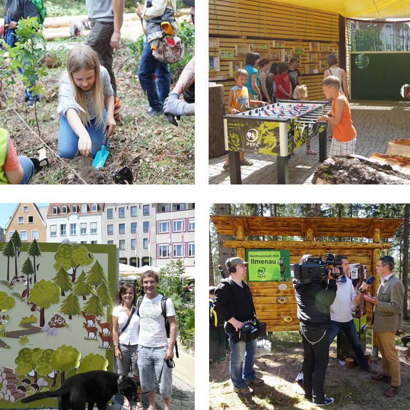 Impressionen aus den PEFC-Waldhauptstädten Heidelberg, Rottenburg, Augsburg und Ilmenau.